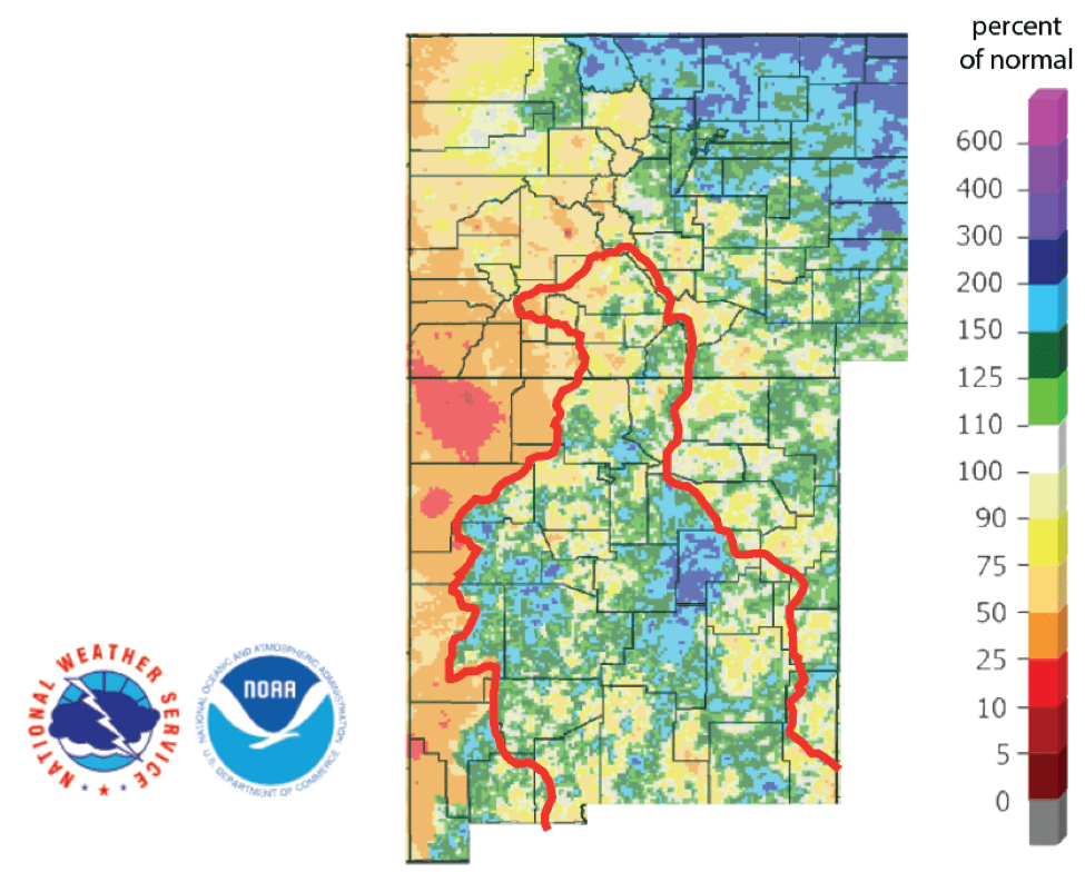 Figure 4b: Percent of normal precipitation for the past 90 days for Colorado and New Mexico as of August 25, 2019 (source). The red line is the Rio Grande Basin. I use this map to see check precipitation trends in the headwaters of the Rio Grande in southern Colorado, the main source of water to Elephant Butte Reservoir downstream.