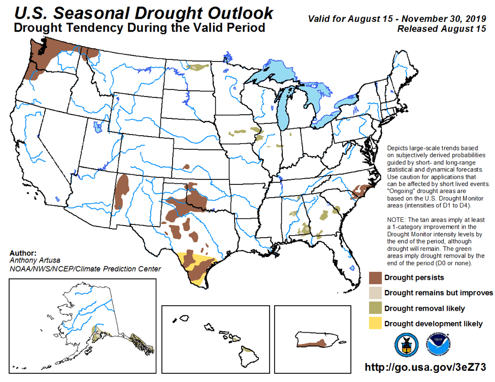 Figure 7: The U.S. Seasonal Drought Outlook for August 15, 2019, through November 30, 2019 (source).
