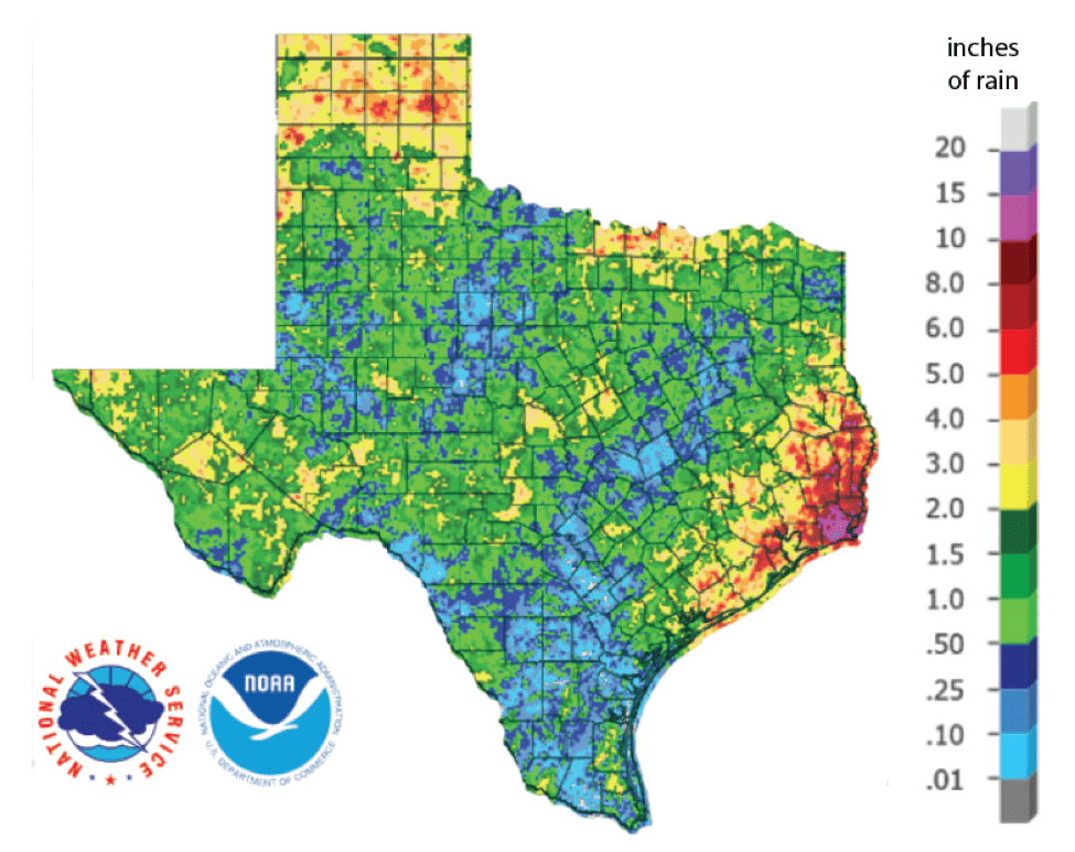 Figure 2a: Inches of precipitation that fell in Texas in the 30 days before August 25, 2019 (source). Note that cooler colors indicate lower values and warmer indicate higher values.