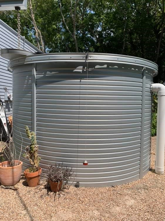 Figure 1b: My rainwater collection tank. That float is even lower since the photo was taken.