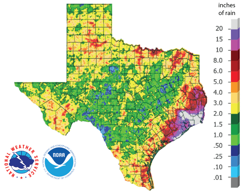 Figure 2a: Inches of precipitation that fell in Texas in the 30 days before September 21, 2019 (source). Note that cooler colors indicate lower values and warmer indicate higher values.