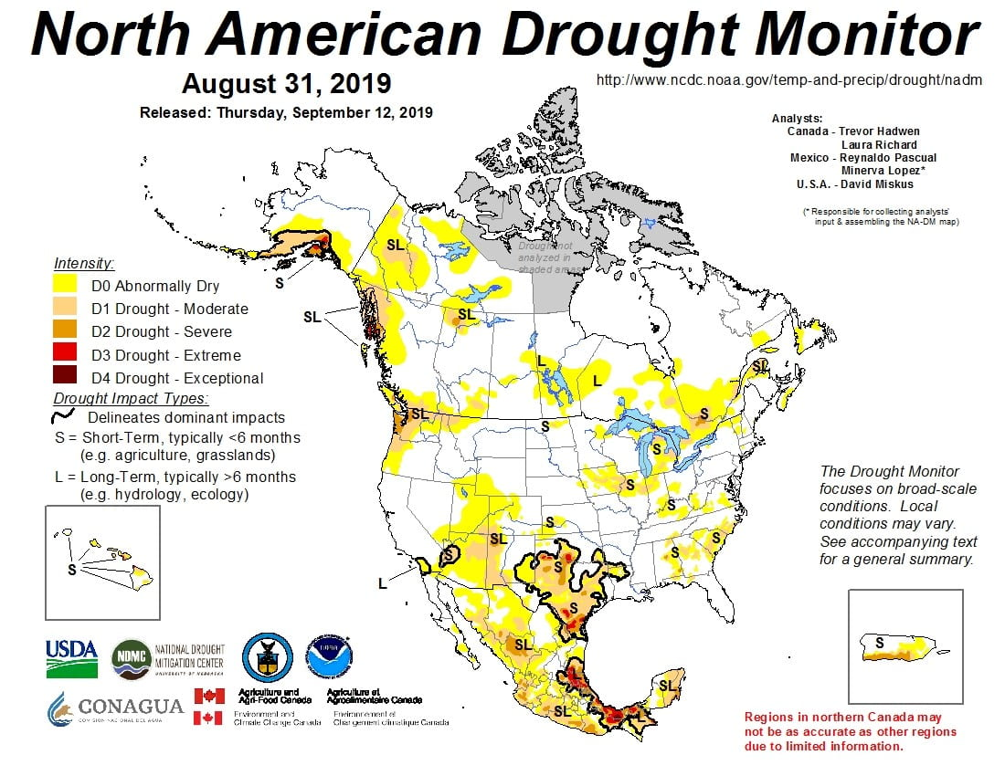 Figure 4a: The North American Drought Monitor for August 31, 2019 (source).