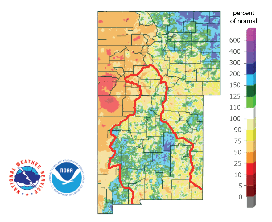 Figure 4b: Percent of normal precipitation for the past 90 days for Colorado and New Mexico as of September 21, 2019 (source). The red line is the Rio Grande Basin. I use this map to see check precipitation trends in the headwaters of the Rio Grande in southern Colorado, the main source of water to Elephant Butte Reservoir downstream.