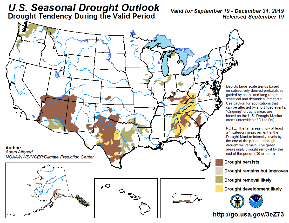 Figure 7: The U.S. Seasonal Drought Outlook for September 19, 2019, through December 31, 2019 (source).