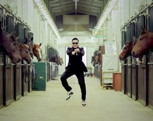 Psy doing the horse riding move in video for Gangnam Style