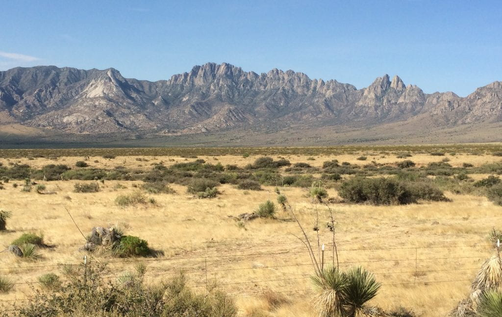 View of the Organ Mountains in southern New Mexico