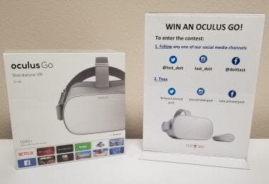 Image of Oculus Go box and contest entry details