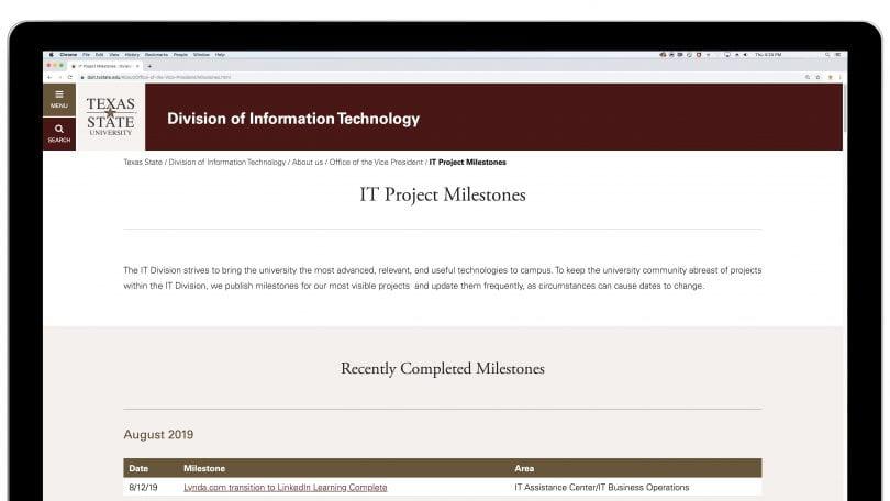 IT Project Milestones website
