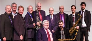 Standing from left: jazz faculty Steve Hawk, Russ Scanlon, Hank Hehmsoth, Butch Miles, guest Lawrence, guest Morgenstern, Keith Winking, Russell Haight, Paul Deemer Seated: Clark, jazz faculty Bennett Wood