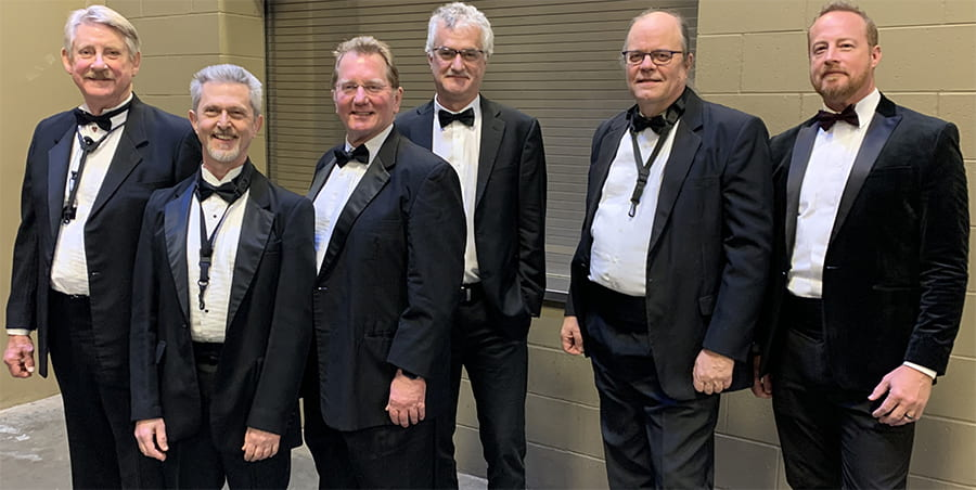 TXST Jazz Faculty in concert attire. From left to right: Doug Skinner, Dan Torosian, Hank Hehmsoth, Russell Scanlon, John Mills, and Utah Hamrick