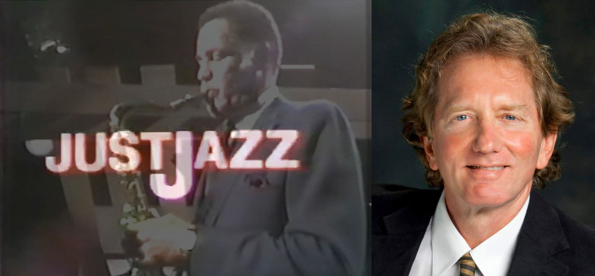 "Professor Hand Hehmsoth headshot (right) next to a trumpet player with the logo ""Just Jazz"" on the left."