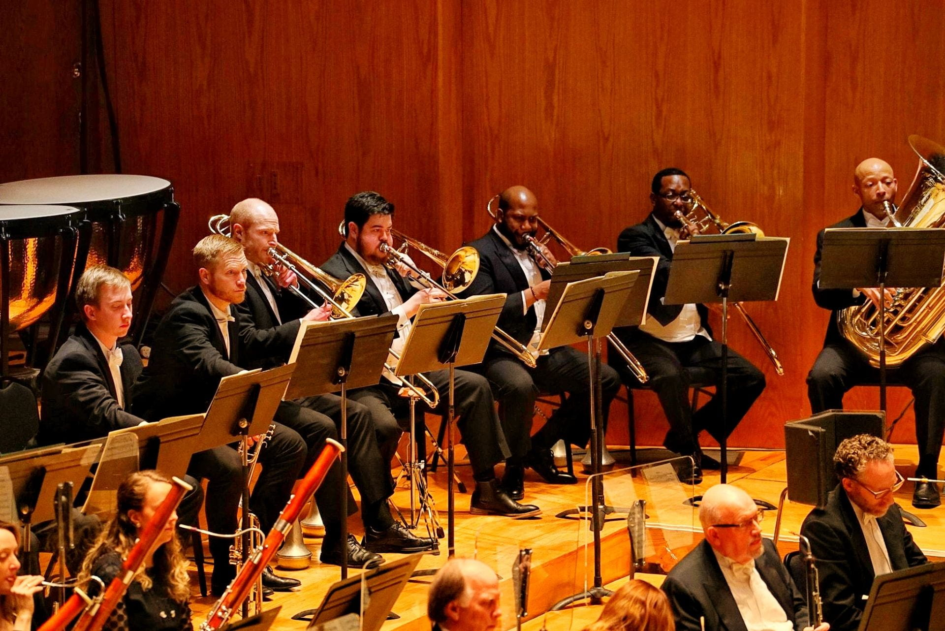 Trombone section of Utah Symphony performing with Dr. Martin McCain on far right.