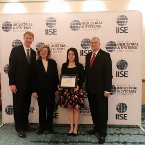 Sasha received her best paper award from 2018 IISE annual conference