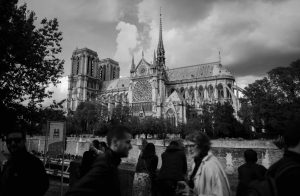 Notre Dame Cathedral in black and white