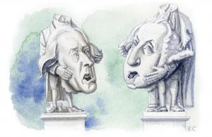 cartoon of philosophers debating
