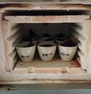 Tissue samples in the kiln before it is turned on. Photograph by the author