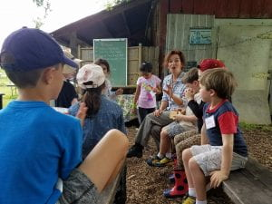 Erin tells our young farmers for a day how they will help the farm during their visit.