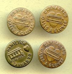 Figure 7: Vintage Carhartt buttons. (Source: Carhartt, 2013)