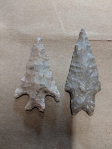 "Figure 4 ""Stemmed Archaic points with barbs (left) and shoulders (right)"""