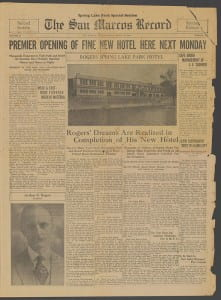 Front page of the 1929 San Marcos Record