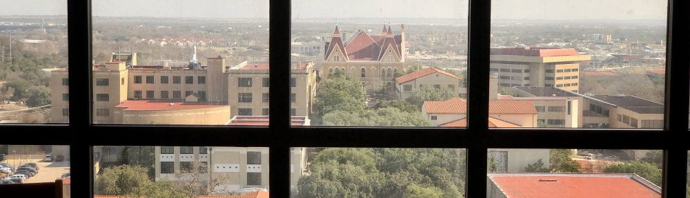 Old Main as seen from the 7th floor of Alkek Library. Photograph by Jeremy Moore