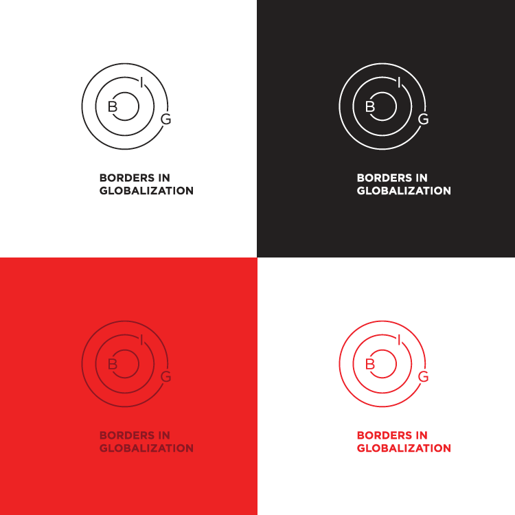 Borders in Globalization (BIG) logo in black, white and red