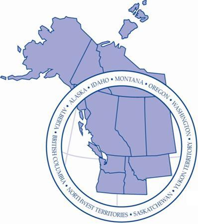 Pacific Northwest Economic Region (PNWER) states and provinces with names overlayed in a circle