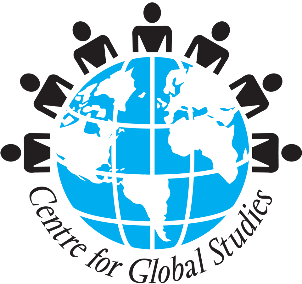 Centre for Global Studies (CFGS) at the University of Victoria logo, globe with 7 people around the top half and Centre for Global Studies on the bottom