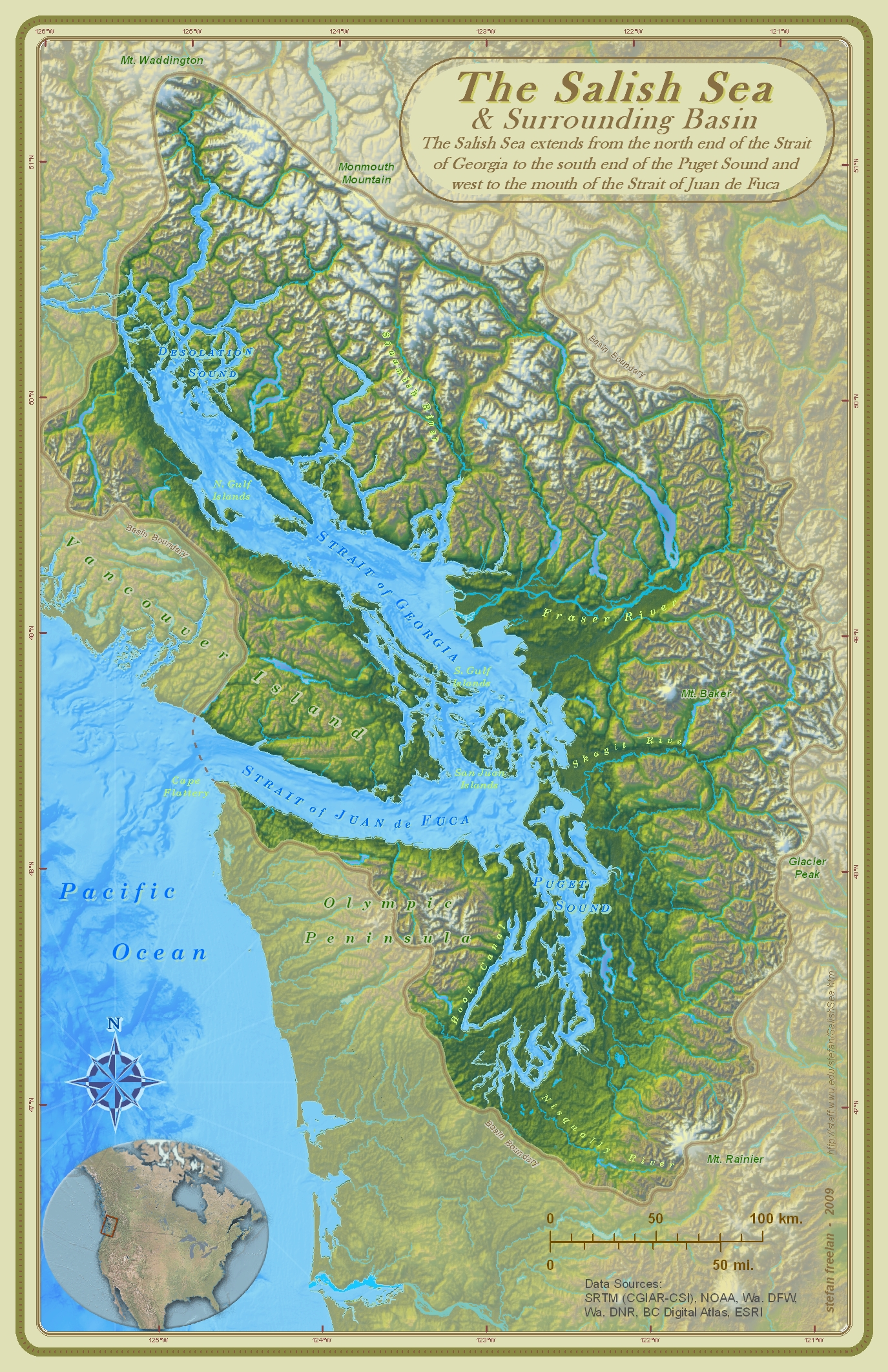 Physical map of the Salish Sea and Surrounding Basin (Strait of Georgia, Strait of Juan de Fuca and the Pacific Ocean)