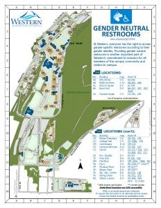 A map showing locations of gender neutral restrooms.