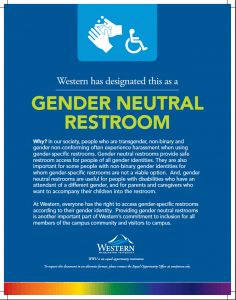 A printable poster that states why the restroom is designated gender neutral.