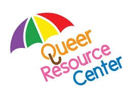 A rainbow umbrella covering the words Queer Resource Center
