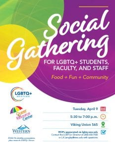 A poster that reads Social Gathering with green, yellow and purple bubbles.