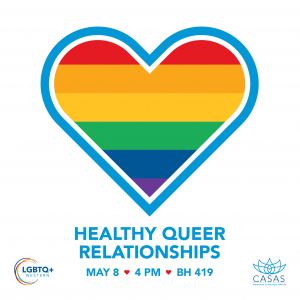 A heart with rainbow color horizontal stripes and the words Healthy Queer Relationships May 8 4PM BH 149 below it.