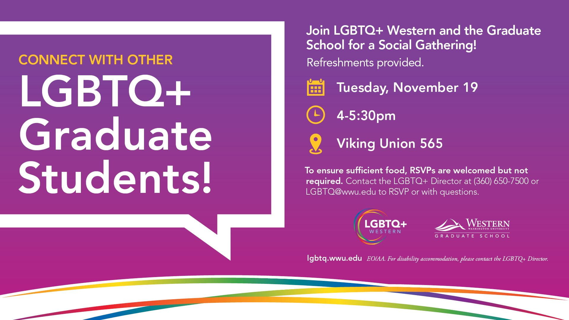 Connect with other LGBTQ+ Graduate Students! banner image