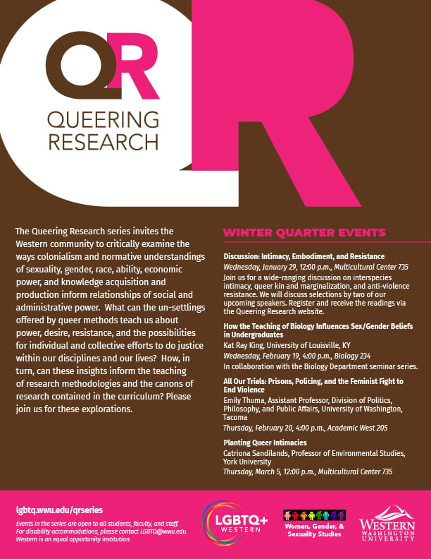 Queering Research Series Winter quarter events. All of this info and more detail are at https://lgbtq.wwu.edu/qrseries/.