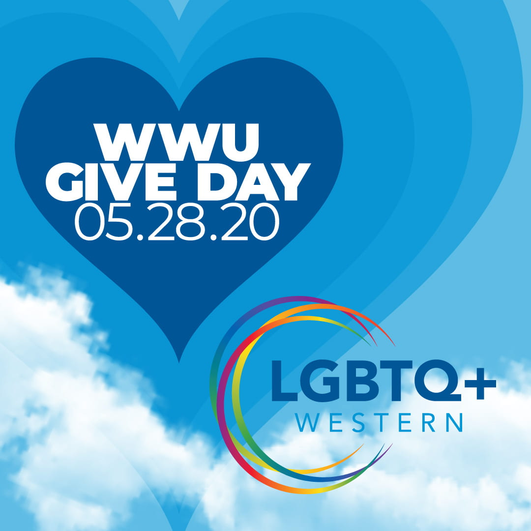 WWU Give Day 5.28.20. Text appears in blue heart shape. Followed by LGBTQ+ Western logo.