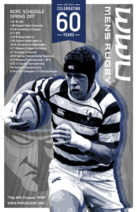 A poster with Celebrating 60 years, the 2017 schedule, and a rugby player running with the ball past an angry Viking logo watermark