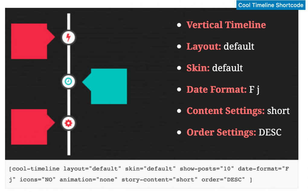 example of the block editor working with the timeline plugin