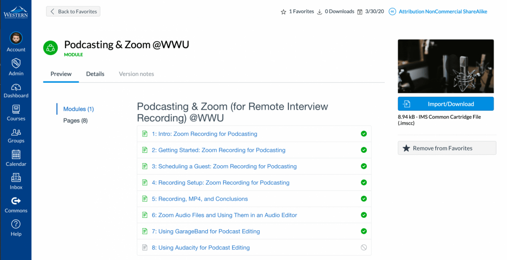 Screen shot of Canvas Commons with the Podcasting and Zoom Canvas module