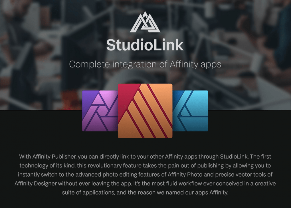 Studio link by Serif screenshot from their website