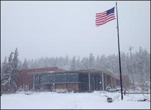 WWU Recreation Center in snowstorm