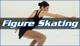 Figure skating written across a figure skater in a crouched position making sweeping motions with her hands
