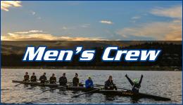 Men's crew written across a racing skull filled with crew team members