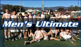 Men's ultimate written across the team posing on a field