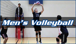 Men's Volleyball written across a player setting the ball for a team mate ready to spike