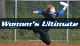 Women's Ultimate written across a woman diving through the air catching a white frisbee