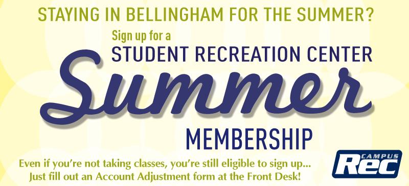 Summer Quarter WWU Rec Center Membership Poster