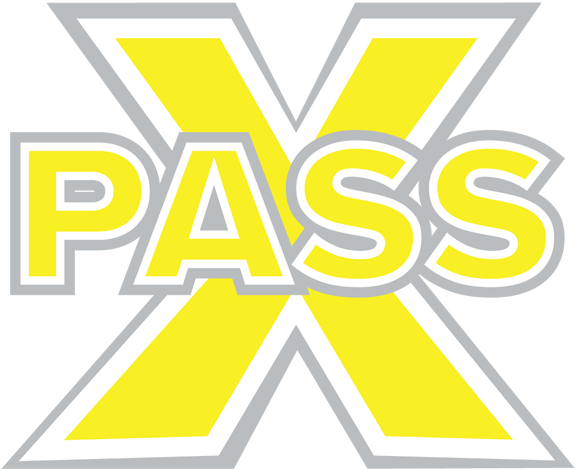 A large X with Pass written across the center done in yellow and grey