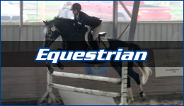 Equestrian written across a rider in show attire on a dark colored appaloosa jumping over a white jump